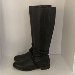 Auth Cole Haan tall black leather riding boots 8.5